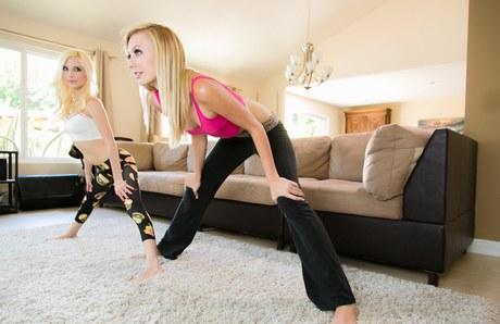 Teen girls Piper Perri & Alexa Grace remove spandex attire before lesbian sex