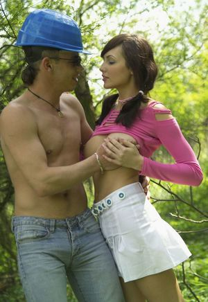 Cutie Jennifer Max in pigtails gets mouth & bald pussy stuffed in the woods