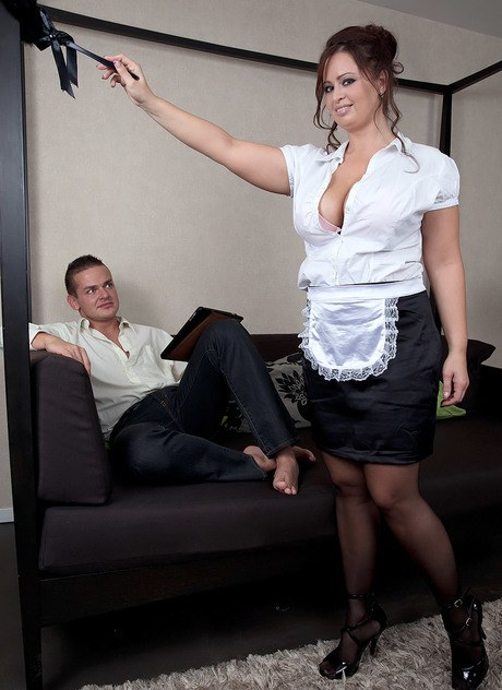 Thick maid with big breasts Sirale seduces her employer while dusting