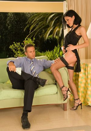 Dark haired chick with an ass to die for seduces her man in fishnet stockings
