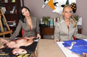 Brunette business woman Dylan Ryder pleasures a huge dick at work