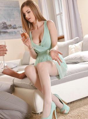 European goddess Stella Cox pleasuring a big cock with her hot feet