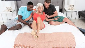 Hot grandmother Sally D'Angelo sucks off black and white men at same time