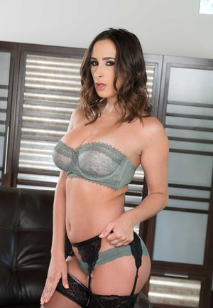 Solo strip by Ashley Adams in gray lingerie and black stockings
