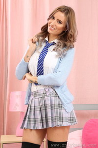 Beautiful brunette school girl Sammy Braddy showing off her big natural boobs