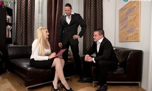 Clothed blonde secretary Angel Wicky sucks off her boss and his associate