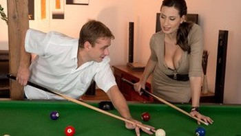 MILF Sensual Jane gives into pool instructor's advances and tit fucks him
