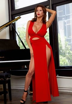 Sexy redhead Alexis Fawx sets her big tits and pussy free of a long red dress