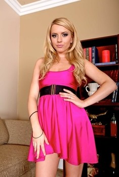 Naturally endowed blonde wife Lexi Belle flashes sheer panties & spreads naked