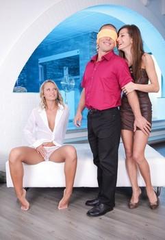 European girls Alice Romain & Vanda fingering & sucking cock in wild threesome