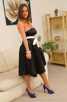 Glamorous Stacey P losing elegant dress and revealing her massive natural tits