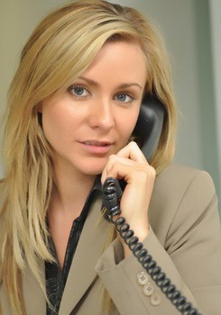 Blonde boss woman Jenna J takes a break from work to strip black stockings