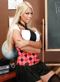 Hot school girl Bridgette B strips to her stockings and poses naked