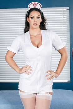 Naughty nurse Alison Tyler wears red high heels while showing her ass