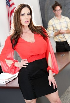 Hot MILF teacher Kendra Lust exposes her hooters to seduce a male student
