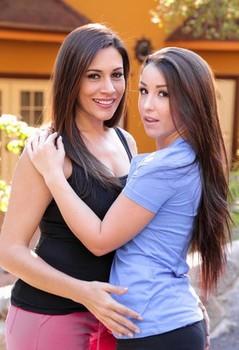 Brunette lesbian girls Raylene & Lola Foxx kissing & naked on the street