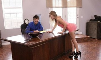 Hot secretary Sydney Cole leaves her undies at home so she can fuck her boss