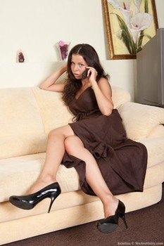 Stunning amateur mom Kristina doffs her dress and rubs her hairy snatch