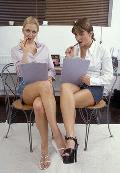 Office workers Caroline and Kerry take a break from work for lesbian sex