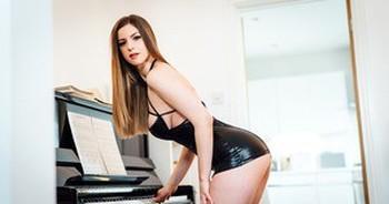 Gorgeous busty Stella Cox in high heel boots sucking hard big cock