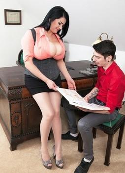 Busty fat secretary Natasha Sweet seduces office boy with her massive big tits