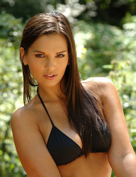 Stunning solo model Eve Angel takes off her bikini after a motorcycle ride