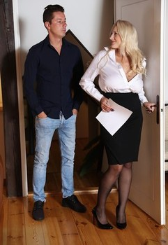 Busty blonde realtor Angel Wicky fucks her client after signing the papers