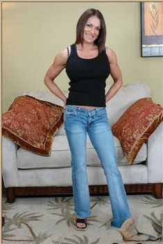 Muscular mom with fake tits Kristine Madison gets screwed by a young boy