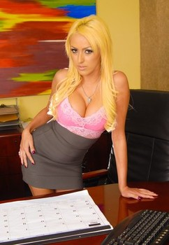 Blonde secretary with great legs Breanne Benson seduces her boss in his office