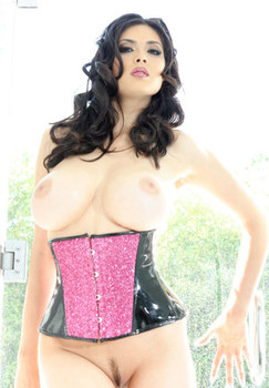Busty Asian chick Tera Patrick plays with her pussy in waist cincher and boots