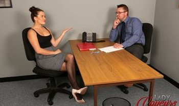 Boss lady Sarah Snow makes job applicant strip naked for CFNM office interview