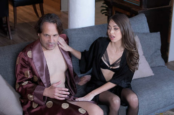 Gorgeous Riley Reid in stockings gives a blowjob and gets fucked by a big cock