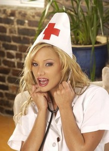 Hot blonde nurse Shyla Stylez uncups her big tits dildoing her horny cunt