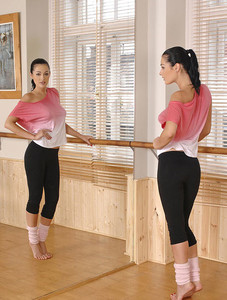 Dancing instructor solo girl Nicole Smith stripping off yoga pants