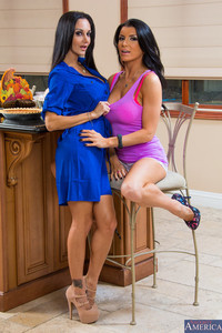 Lusty black haired MILFs Ava Addams & Romi Rain strip & pet in the kitchen