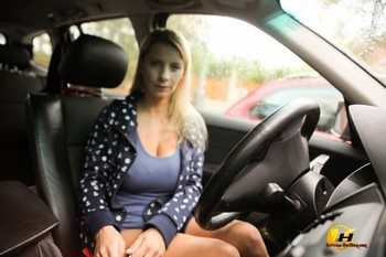 Blonde amateur Katerina Hartlova masturbates while inside her car