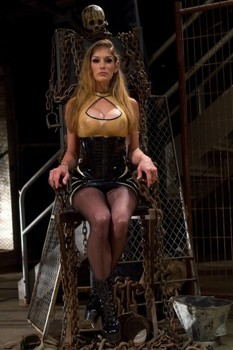 Brutal mistresses tugging & torturing a male sub's cock with a urethral plug