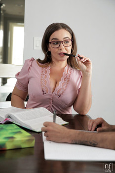 Stacked french tutor Natasha Nice seduces, sucks and rides her student