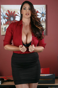Big tits pornstar Alison Tyler strips off red top and poses non nude in office