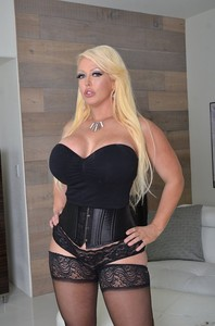 Curvaceous blonde MILF Alura Jenson shows her huge melons and gets banged