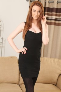 Slender girl Alice Brookes shows her amazing tits and poses in stockings