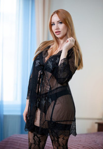 Natural redhead Kiara Lord doffs lace underwear before touching her twat