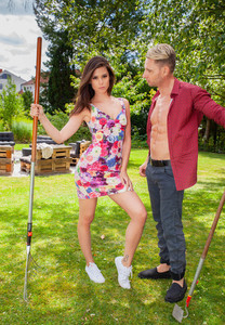 Thin girl Little Caprice and her guy fuck after shelving gardening implements