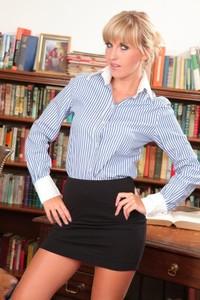 Sex secretary Cikita sheds her mini skirt & goes topless in stockings at work