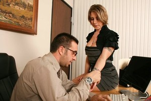 Secretary Velicity Von seduces her boss after a coworker fondles her boobs