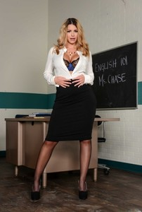 Alluring professor Brooklyn Chase strips to lacy lingerie & flaunts her bosom
