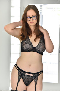 Sinful nerd Jay removes her black panties and rubs her bushy snatch