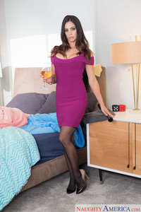 Horny housewife Eva Long strips naked to the delight of her girlfriend's son