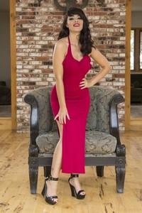 Horny British lady Ava Dalush strips her sexy dress and masturbates