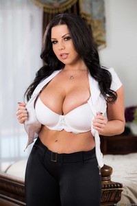 Brunette chick Sheridan Love uncovers her knockers and pierced nipples